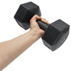 Man hand holding dumbbell