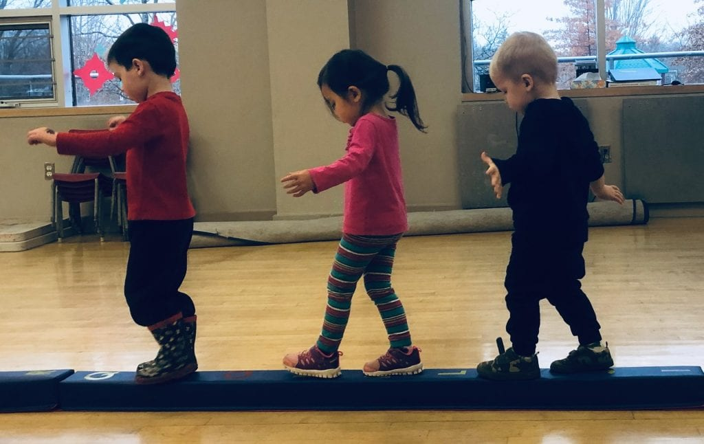 preschool program- preschool sports activity- walking on a beam