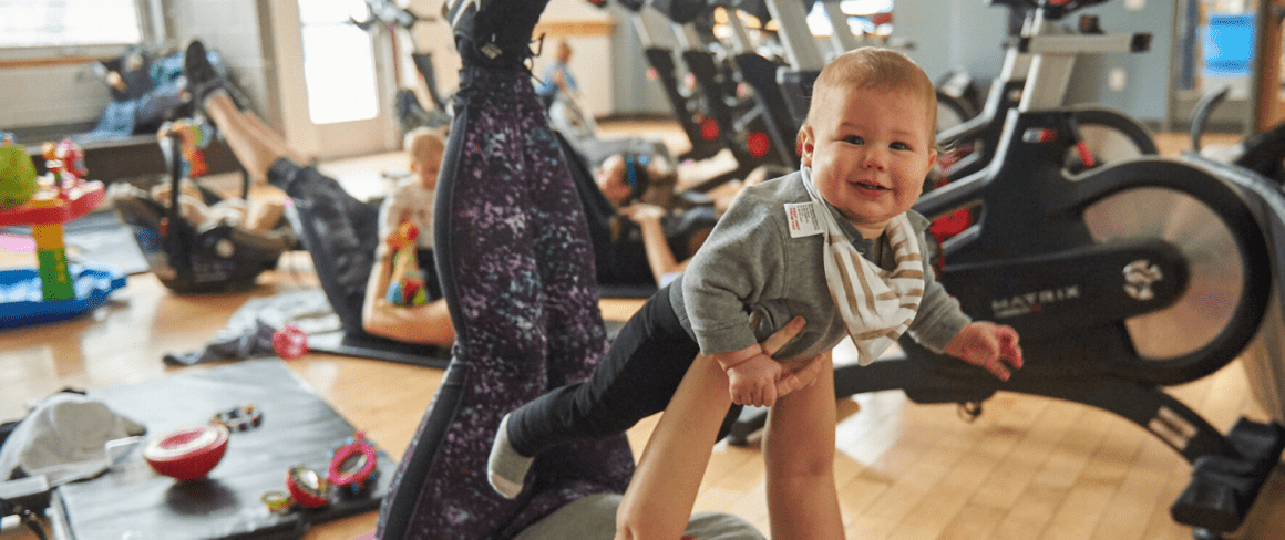 mom and baby fitness class