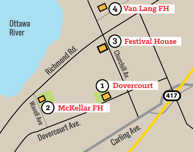 Map showing Dovercourt locations including Van Lang, McKellar & BSOMA