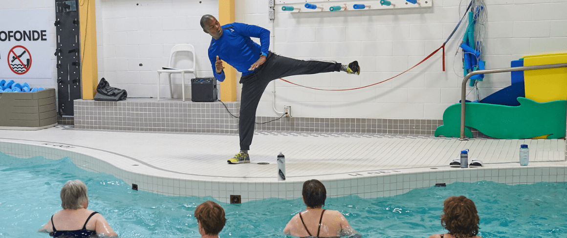 aquafitness class instructor teaching