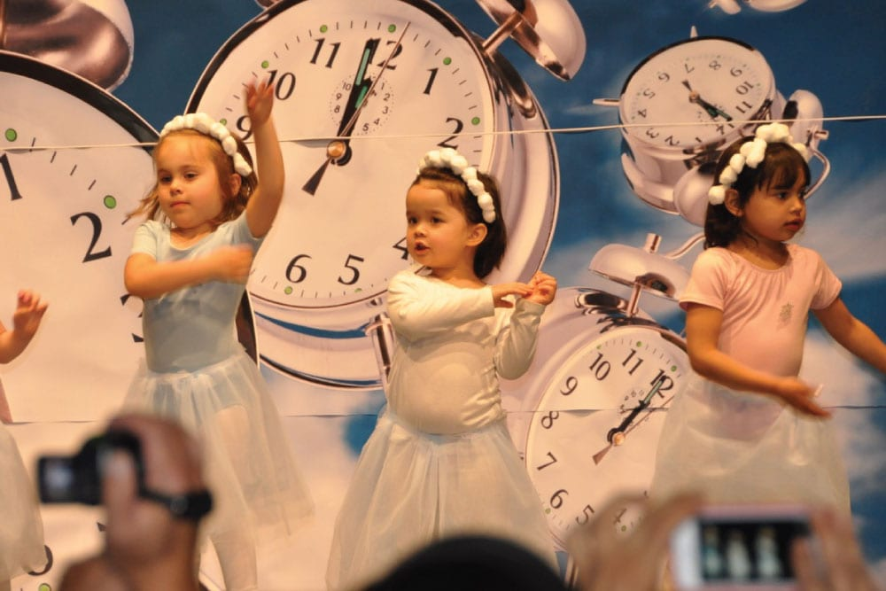children dancing in recital in front of backdrop