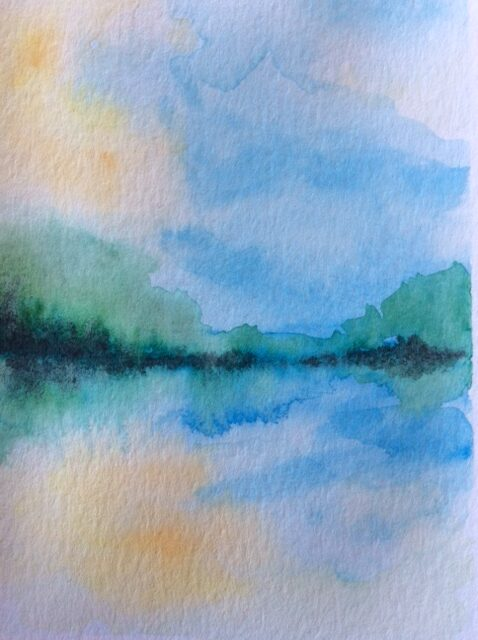Watercolour painting lake & forest