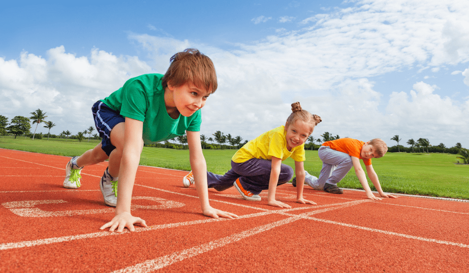 kids on a track