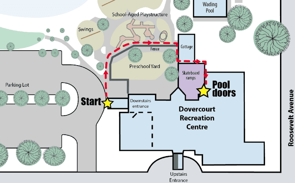map from parking lot to the pool doors