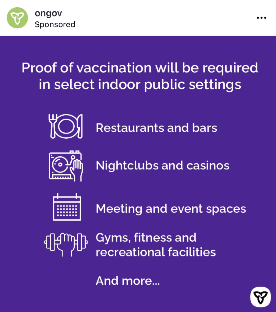 Ontario Government: Proof of vaccination will be required in select indoor public settings